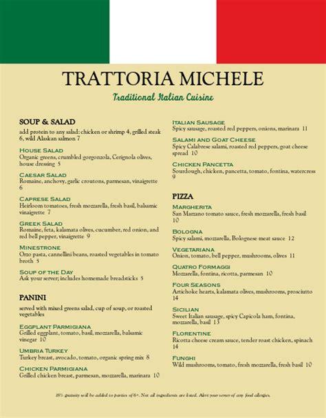 trattoria italian menu letter italian menus