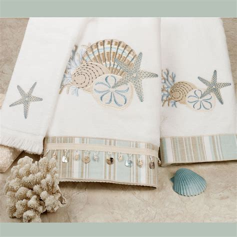 decorative bath towels and rugs by the sea embroidered bath towels