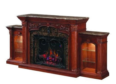 beauch curio electric fireplace w side piers at