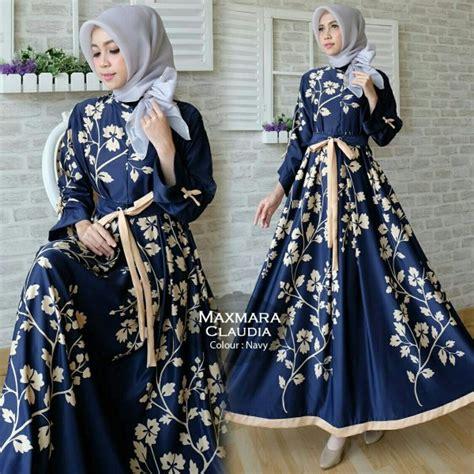 Baju Gamis Maxi Embos Caruna Navy 2 gamis modern maxi maxmara baju muslim cantik