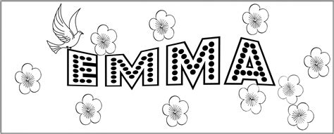 coloring pages of the name emma first name to color emma free stock photo public