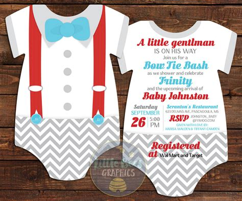 diy baby onesie with a bow tie card template 10 bowtie baby shower invitations suspenders invitation