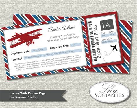 Vintage Airplane Boarding Pass Invitations Ticket Up Up And Airplane Birthday Invitation Template