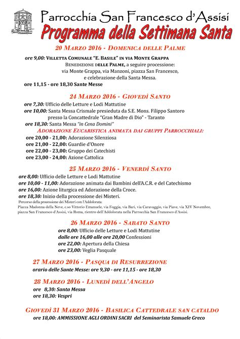 programma settimana santa 2016 parrocchia avviso liturgico parrocchia san francesco d assisi crispiano