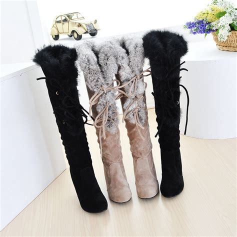 free shipping winter boots warm fur high heel shoes