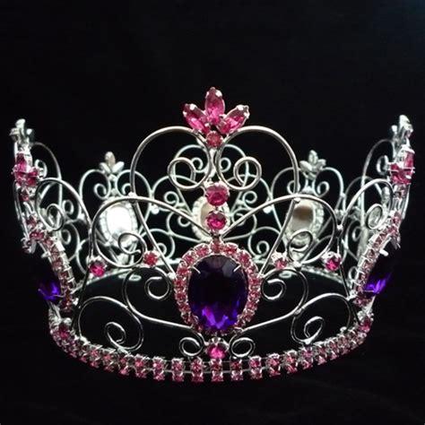 Mahkota Ulang Tahun Silver Crown Crown Mahkota Pesta terbaru desain sepenuhnya bulat berlian imitasi kontes mahkota prom raja mahkota dengan safir