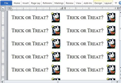 How To Create Halloween Trick Or Treat Labels In Word Treat Label Template