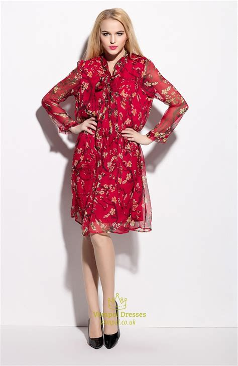 Floral Print Chiffon Dress floral print chiffon overlay knee length dress