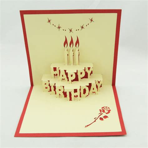 birthday cake kirigami pop up card template aliexpress buy birthday cake pop up card 3d kirigami