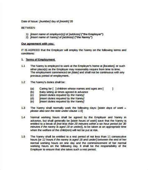 nanny contract 7 free pdf word documents download