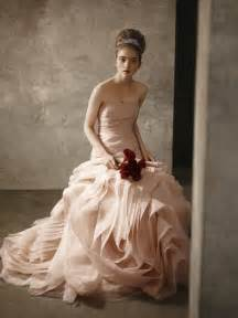 blush wedding dress blush pink strapless bridal gown from white by vera wang 2011 collection onewed