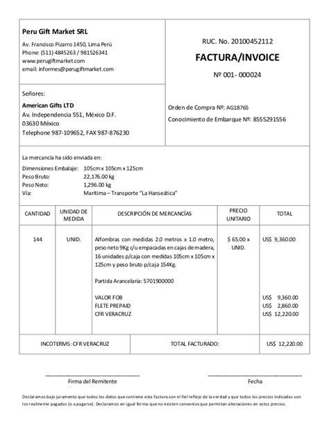 modelo de factura comercial modelo de factura comercial commercial invoice llenada
