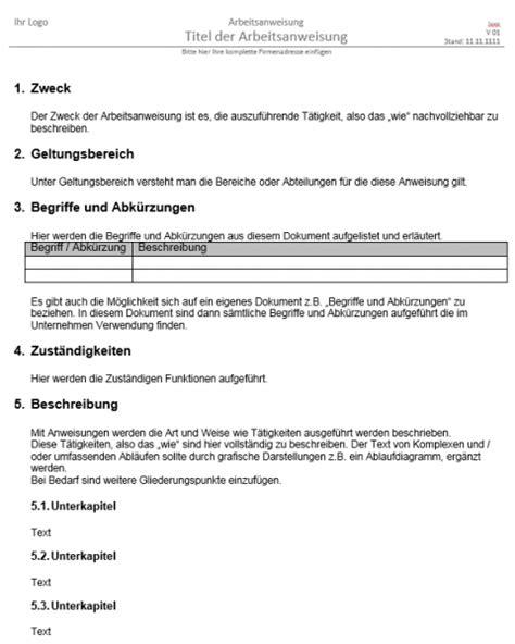 Word Vorlage Arbeitsanweisung Vorschau Arbeitsanweisung Vorlage Die L 246 Sung Im B2b Und