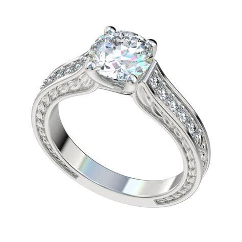 vintage leaf detailed trellis engagement ring w 0 18ct