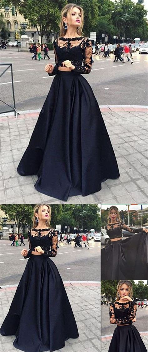 black and white pattern long sleeve dress long sleeves prom dresses black two pieces lace top and