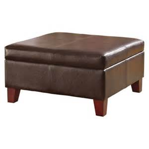 Brown Leather Ottoman Large Faux Leather Storage Ottoman Brown Homepop Target