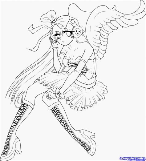 anime angel girl coloring pages anime coloring pages for adults bestofcoloring com