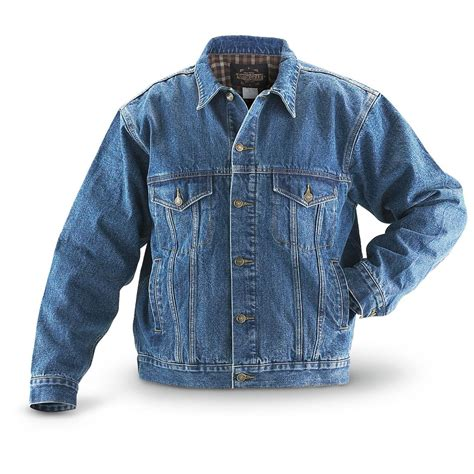 Jaket Jean guide gear flannel lined denim jean jacket stonewash