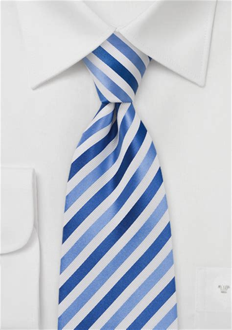 Md Stripe Blue royal blue and white mens tie