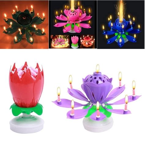 rotating musical lotus flower happy birthday candle lights aliexpress buy birthday candles beautiful musical lotus flower happy birthday gift