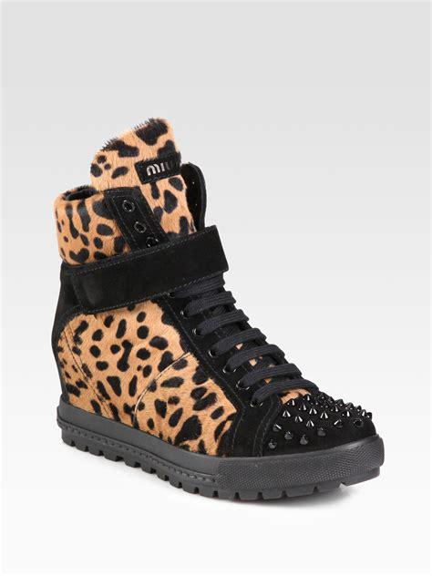 leopard wedge sneakers miu miu calf hair and studded suede wedge sneakers in