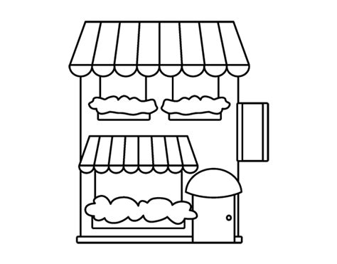 free supermarket building coloring pages