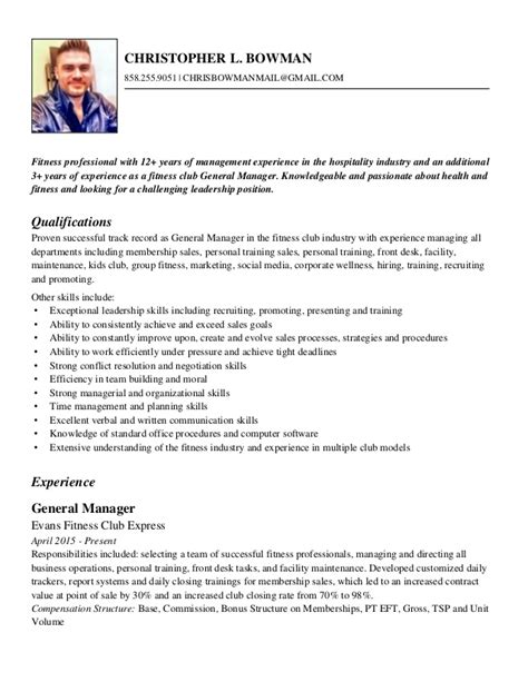 Fitness Manager Sle Resume by Chris Bowman Fitness Resume