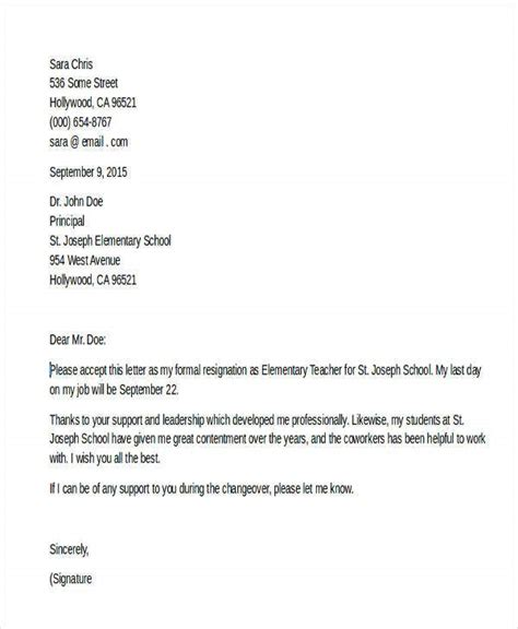 resignation letter templates examples