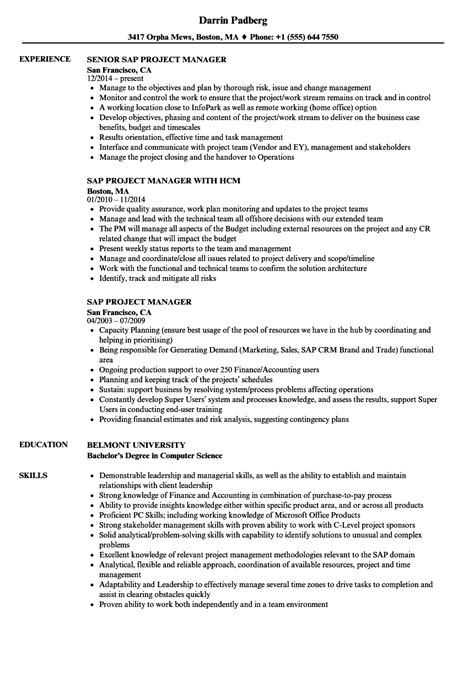 sap project manager resume resume ideas