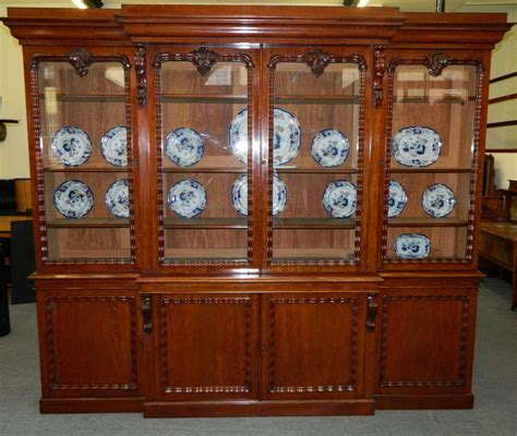 Large Mahogany Breakfront Bookcase   Antiques Atlas