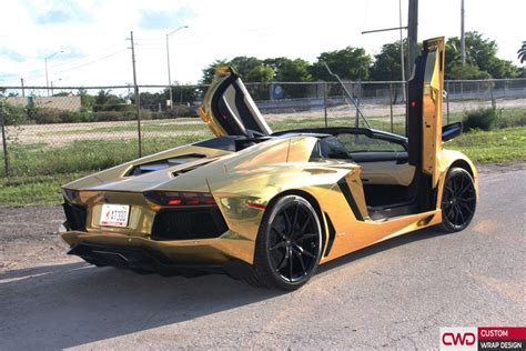 car lamborghini gold lamborghini aventador gold chrome wrap