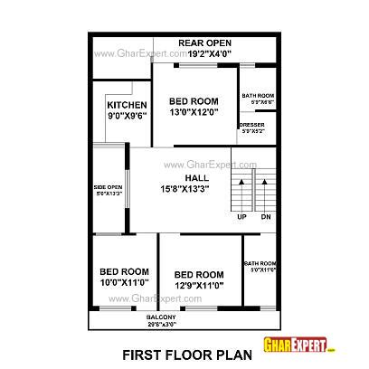 1 gaj in sq feet house plan for 30 feet by 50 feet plot plot size 167