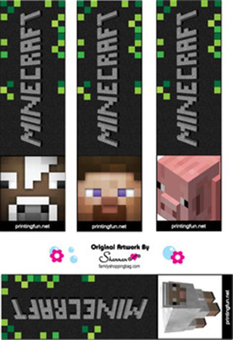 bookmarks minecraft bookmarks free printable ideas