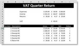creating vat quarter returns using excel version one