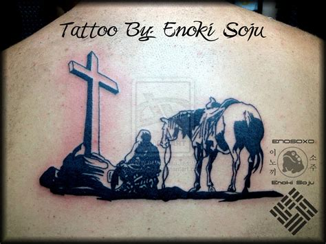 cowboy cross tattoos kneeling cowboy cross by enoki soju by