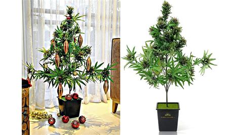 pot plant christmas altar 42 quot artificial cannabis plant the marijuana tree the daily chronic marketplace