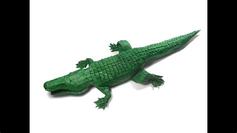 Origami Alligator - origami american alligator 256ths version process