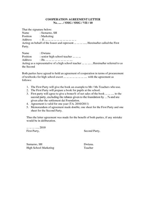 Service Letter Agreement Sle 8 Best Images About Agreement Letters On A