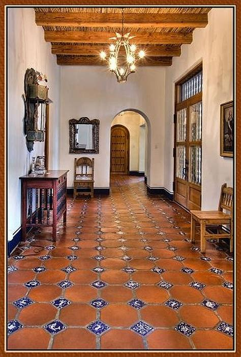 Beautiful Casas Church Tucson #2: Spanish-tile-flooring-idea-with-motif-a-console-table-a-wooden-chair-a-decorative-pendant-lamp-wooden-ceiling-idea-.jpg