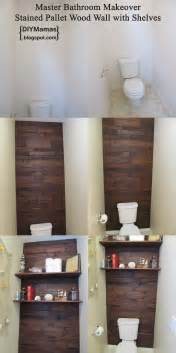 pallet wall bathroom diy mamas master bathroom makeover stained pallet wood