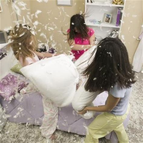 Pillow Fight In by Sleepover Ideas For 12 Year With Pictures Ehow