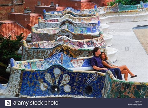 giardini gaudì barcellona on mosaic tile bench by antonio gaudi at guell park