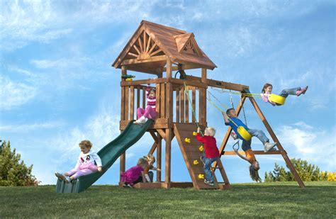 redwood swing sets wholesale high flyer playset with slide swings sandbox wooden roof