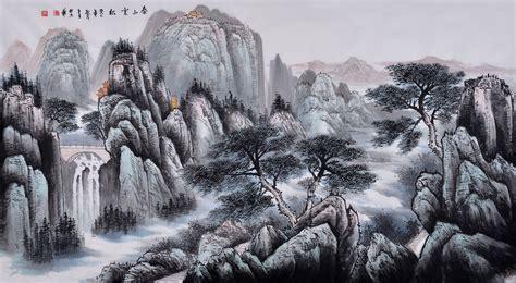 六尺国画山水水精品图片闵行卢京