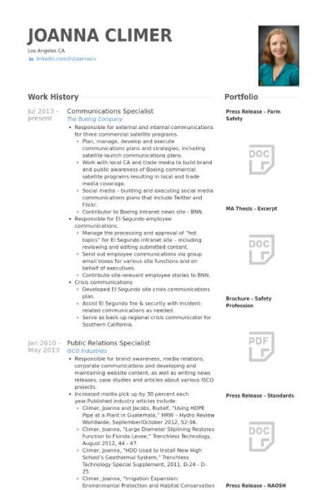 Communication Resume by Communications Specialist Resume Sles Visualcv Resume