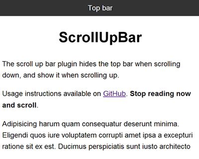 jquery top bar scrollupbar jquery plugin to hide top bar when scrolling