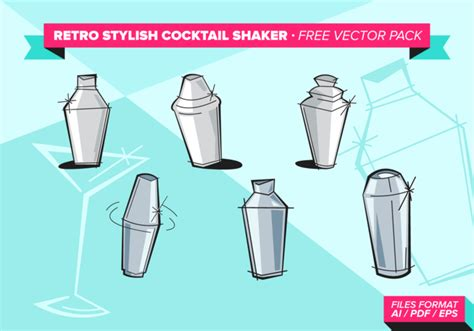 martini shaker vector retro stylish cocktail shaker free vector pack