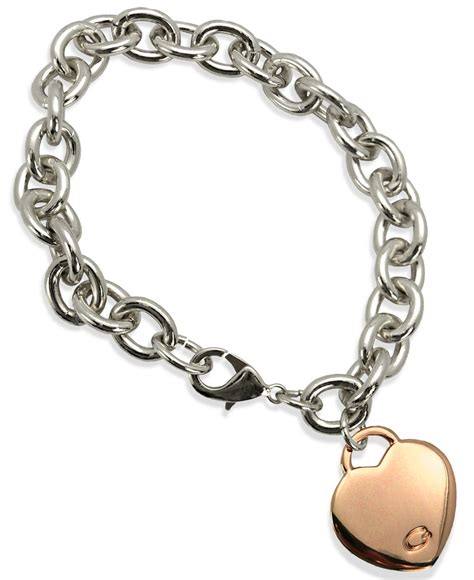 Guess Merica Gold Silver lyst guess two tone charm link bracelet in pink