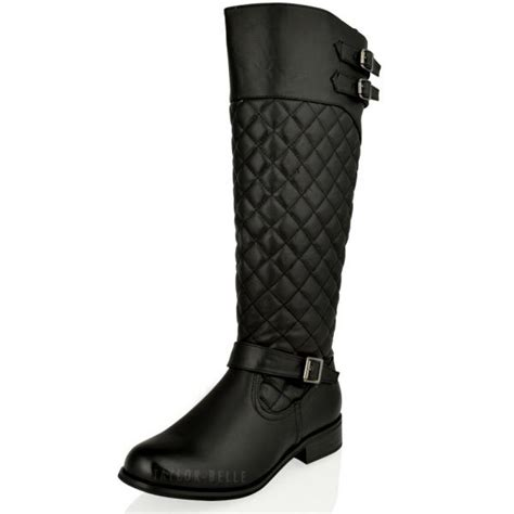 womens flat knee high quilted black calf