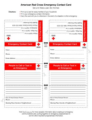 American Cross Card Template by Emergency Card Fill Printable Fillable Blank